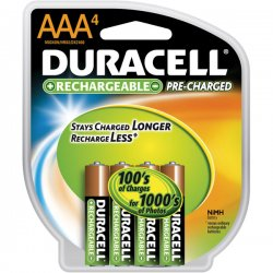 Duracell - DX2400R4 - AAA Pre-Charged Rechargeable Battery, Duracell Rechargeable, Nickel-Metal Hydride, PK4
