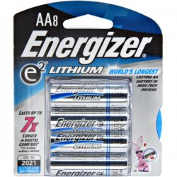 Energizer - L91BP8 - Eveready e2 Lithium General Purpose Battery - AA - Lithium (Li) - 1.5 V DC - 8 / Pack