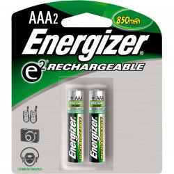 Energizer - NH12BP-2 - Energizer AAA Rechargeable Nickel Metal Hydride Battery - 650 mAh - AAA - Nickel Metal Hydride (NiMH) - 2 / Pack