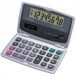 Casio - SL200TE - Casio Tax/Currency Exchange Flip Calculator - 8 Digits - LCD - Battery/Solar Powered - 4.7 x 0.3 x 5.5 - 1 Each