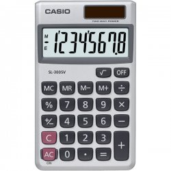 "Casio - SL300SV - Casio SL300SV Pocket Calculator - 8 Digits - Battery/Solar Powered - 0.3"" x 2.8"" x 4.6"" - Silver - 1 Each"