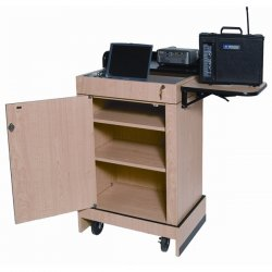 "AmpliVox - SN3230MO - AmpliVox Multimedia Computer Lectern without Sound - 0.75"" Table Top Thickness - 43.50"" Height x 27.50"" Width x 19"" Depth - Assembly Required - Medium Oak"