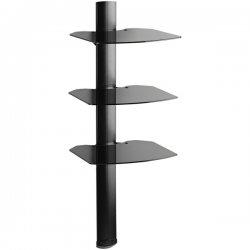 OmniMount - TRIA BLACK - OmniMount TRIA A/V Shelf System - Glass - Black