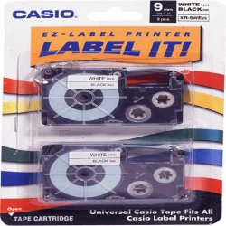 Casio - XR9WE2S - Casio EZ-Label Printer Tape Cartridges - 3/8 Width x 26 ft Length - White - 2 / Pack