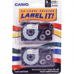 "Casio - XR9X2S - Casio EZ-Label Printer Tape Cartridges - 0.37"" Width x 26 ft Length - Clear - 2 / Pack"