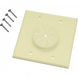 Midlite - 2GAL-GR2 - MIDLITE Wireport 1-Socket Faceplate - 2-Gang Wireport w/Grommet - Almond