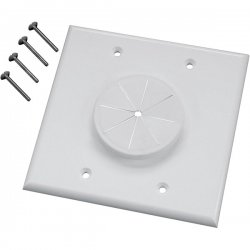Midlite - 2GWH-GR2 - MIDLITE Wireport 1-Socket Faceplate - 2-Gang Wireport w/Grommet - White