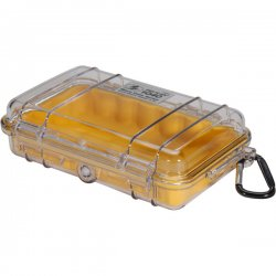Pelican - 1040-027-100 - Pelican 1040 Micro Case with Yellow Liner - 5.06 x 2.12 x 7.5 - Clear