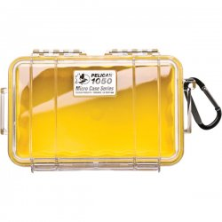 "Pelican - 1050-027-100 - Pelican 1050 Micro Case with Yellow Liner - 5.06"" x 3.12"" x 7.5"" - Clear"