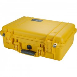 """Pelican - 1500-000-240 - Pelican 1500 Protective Medium Hard Case with Foam - Internal Dimensions: 11.18"""" Width x 6.12"""" Depth x 16.75"""" Height - External Dimensions: 14.1"""" Width x 6.9"""" Depth x 18.5"""" Height - Double Throw Latch Closure - Yellow - For"""