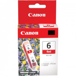 Canon - 8891A003 - Canon BCI-6R Original Ink Cartridge - Inkjet - 370 Pages - Red - 1 Each