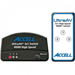 Accell - K072C-009B - Accell UltraAV 3x1 HDMI Switch - 3 x HDMI Type A Digital Audio/Video In, 1 x HDMI Type A Digital Audio/Video Out - 1600 x 1200 - UXGA