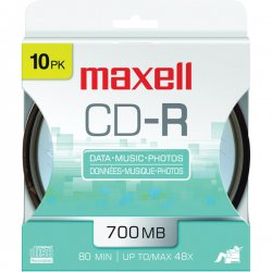 Maxell - 648450 - Maxell 48x CD-R Media - 700MB - 120mm Standard - 10 Pack Spindle