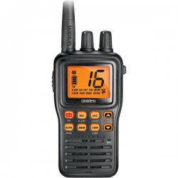 Uniden - MHS75 - Uniden MHS75 Submersible Handheld Two-Way VHF Marine Radio - For Marine with NOAA All Hazard, Weather Disaster - VHF - 2 Marine16/9 Instant - 1 W - Handheld