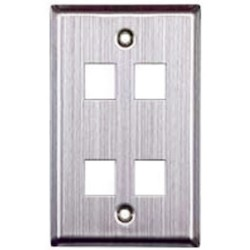 L-Com Global Connectivity - 60-03035 - Ss 1-Gang 4-Port Wall Plate