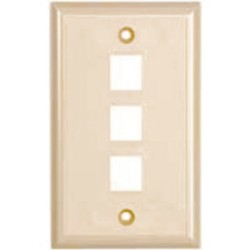 L-Com Global Connectivity - 60-06141 - 3 Port Flush Faceplate Ivory