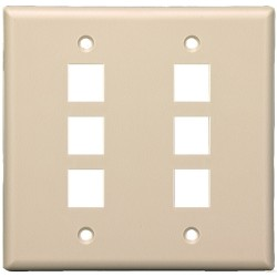 L-Com Global Connectivity - 60-06144 - Milestek Keystone 6 Port Wall Plate Ivory