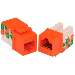 L-Com Global Connectivity - 60-08624 - Milestek Keystone Cat6 RJ45 110 Jack Orange