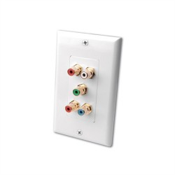 L-Com Global Connectivity - 60-10622 - Component Video (RGB) Stereo Left/Right Audio Decora Feedthru Wall Plate