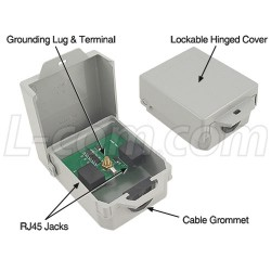 L-Com Global Connectivity - AL-CAT5JW - Outdoor Med Power 10/100 Base-T CAT5 Lightning Surge Protector - RJ45 Jacks