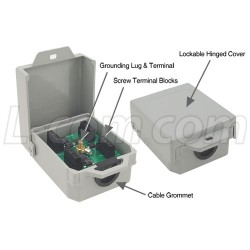 L-Com Global Connectivity - AL-CAT5SW - Outdoor 10/100 Base-T CAT5 Lightning Surge Protector - Screw Terminals