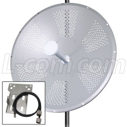 L-Com Global Connectivity - ARK4958DP-34D-0 - 5 GHz 34 dBi Dual Polarized Dish Antenna w/Ubiquiti RocketM5 Mounting Kit