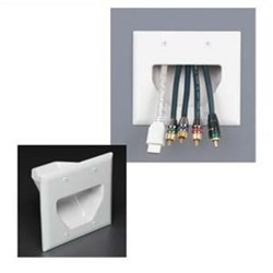 L-Com Global Connectivity - DC-45-0002-WH - 2 Gang Recessed Cable Plate White