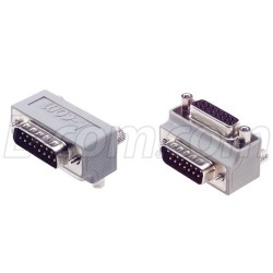 L-Com Global Connectivity - DG9015MF1 - Low Profile Right Angle Adapter, DB15 Male / Female, Cable Exit 1