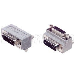L-Com Global Connectivity - DG9015MF2 - Low Profile Right Angle Adapter, DB15 Male / Female, Cable Exit 2