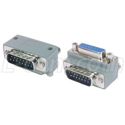 L-Com Global Connectivity - DG9015MF3 - Low Profile Right Angle Adapter, DB15 Male / Female, Cable Exit 3