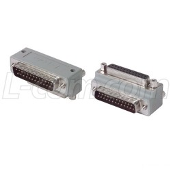 L-Com Global Connectivity - DG9025MF2 - Low Profile Right Angle Adapter, DB25 Male / Female, Cable Exit 2
