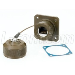 L-Com Global Connectivity - ECRD3103U00 - Ruggedized Flange Mount, Zinc-Nickel with Grounding Shield and Dust Cap