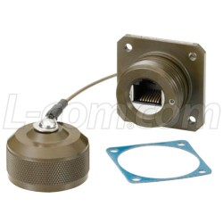 L-Com Global Connectivity - ECSD3103U00 - Category 6, Ruggedized Flange Mount, Zinc-Nickel finish with Grounding Shield and Dust Cap