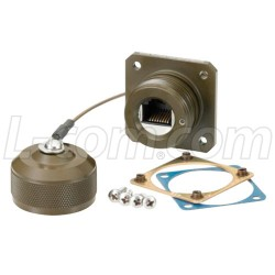 L-Com Global Connectivity - ECSH3201U00 - Category 6, Flange Mount, Anodized finish with Mounting Hardware and Dust Cap