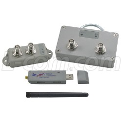 L-Com Global Connectivity - HAKIT-RTGU-250 - 250 mW 2.4 GHz 802.11g Certified Outdoor Amplifier Kit, RP-TNC Connectors