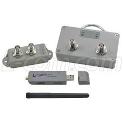 L-Com Global Connectivity - HAKIT-RTGU-500 - 500 mW 2.4 GHz 802.11g Certified Outdoor Amplifier Kit, RP-TNC Connectors