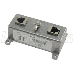 L-Com Global Connectivity - HGLN-CAT5J24 - Indoor Med Power 10/100 Base-T Shielded 24V PoE CAT5 Lightning Surge Protector