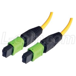 L-Com Global Connectivity - MPFF12S-50 - MPO Female to MPO Female, 12 Fiber Ribbon, 9/125 Singlemode, OFNR Jacket, Yellow, 50.0m