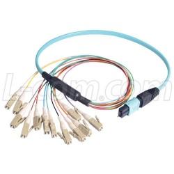 L-Com Global Connectivity - MPM12OM4-LC-05 - MPO Male to 12x LC Fan-out, 12 Fiber Ribbon, OM4 100G 50/125 Multimode, LSZH Jacket, Aqua, 0.5m
