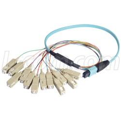L-Com Global Connectivity - MPM12OM4-SC-10 - MPO Male to 12x SC Fan-out, 12 Fiber Ribbon, OM4 100G 50/125 Multimode, LSZH Jacket, Aqua, 10.0m