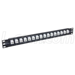L-Com Global Connectivity - PR175C5E-16M - 1.75 16 Port Low Profile Straight Category 5e Feed-Thru Panel, Unshielded Low Profile Mini-Coupler