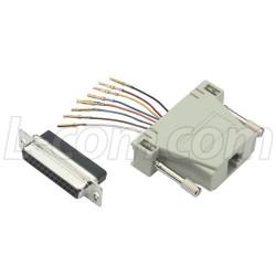 L-Com Global Connectivity - RA258F - Modular Adapter, DB25 Female / RJ45 (8x8) Jack