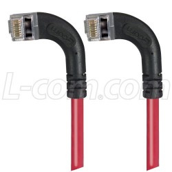 L-Com Global Connectivity - TRD695SZRA9RD-15 - Category 6 Shielded LSZH Right Angle Patch Cable, Right Angle Left/Right Angle Left, Red, 15.0 ft