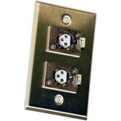 CAD Audio - 40-348 - Brushed Stainless Steeel 1-Gang Wall Plate with Double XLR-F Connector