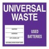 """Accuform Signs - MHZW509EVP - Accuform Signs 6"""" X 6"""" Purple And White 2 mil Adhesive Poly Sheet Drum And Container Identification Label """"UNIVERSAL WASTE USED BATTERIES"""" (25 Per Pack), ( Package )"""
