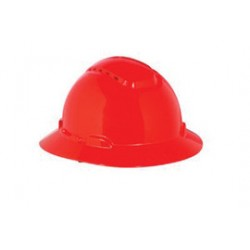 3M - 70071648177-CA - 3M Red HDPE Full Brim Hard Hat With 4 Point Ratchet Suspension, ( Case of 20 )