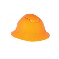 3M - 70071648193-CA - 3M Hi-Viz Orange HDPE Full Brim Hard Hat With 4 Point Ratchet Suspension, ( Case of 20 )