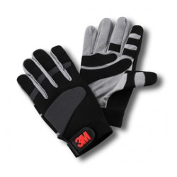 3M - 70006734928 - Size 3M Large Black And Gray Synthetic Suede Full Finger Mechanics Gloves With Elastic Cuff, ( Pair )
