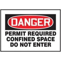 Accuform Signs - CSM009 - Accuform Signs 7' X 10' Black, Red And White Magnetic Vinyl Sign 'DANGER PERMIT REQUIRED CONFINED SPACE DO NOT ENTER', ( Each )