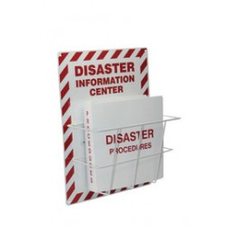 Accuform Signs - EMC205 - Accuform Signs 20 X 15 Red And White 0.063 Aluminum Backboard Evacuation And Shelter Sign DISASTER INFORMATION PROCEDURE CENTER, ( Each )